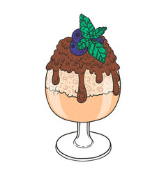 Ice cream with chocolate sauce in a glass hand vector