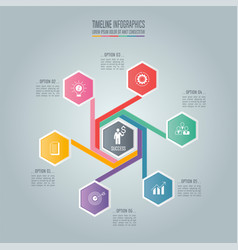 infographic business concept with 6 options vector image