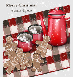 merry christmas card gingerbread cookies and hot vector image vector image