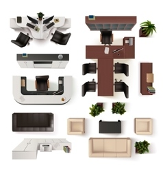 Office Interior Elements Top View Set vector image vector image