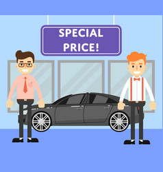 special price for auto concept with car salesmen vector image vector image