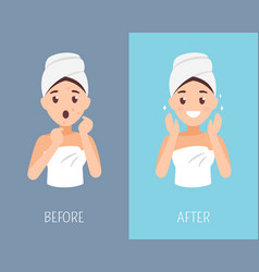 woman skin care before and after face treatment vector image vector image