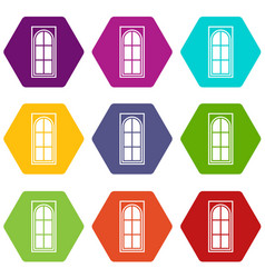 wooden door with glass icon set color hexahedron vector image