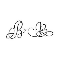 art calligraphy letter b with flourish of vintage vector image vector image