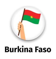burkina faso flag in hand round icon vector image vector image