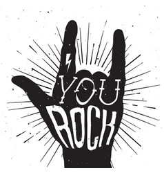 Distressed poster with rock hand and typography vector image