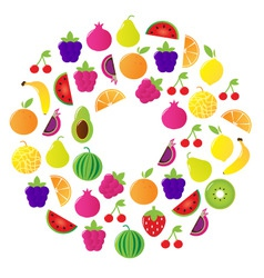 fresh fruit berries circle vector image vector image