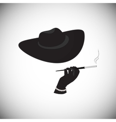 Lady in a hat with a cigarette in the mouthpiece vector image vector image