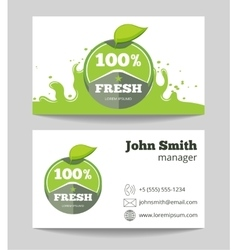 Organic fresh natural food business card vector image