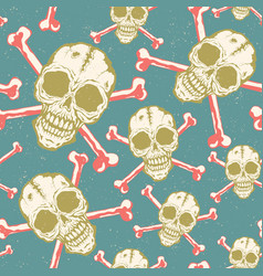 vintage pattern with skulls vector image vector image