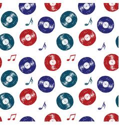 vinyl record vintage seamless pattern hand drawn vector image