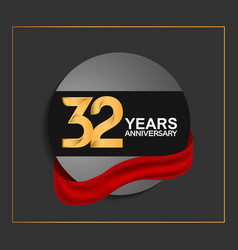 32 years anniversary logotype with golden color vector