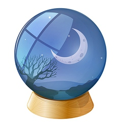 A crystal ball with a moon vector
