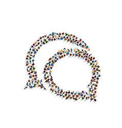 a group of people shaped as a chat icon vector image