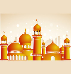 Arabic mosque on shiny light background ramadan vector