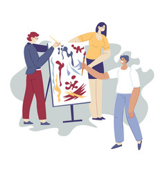 Art therapy people drawing paintings on easel vector