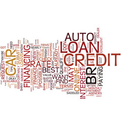 Auto loans top tips for the best rate text vector