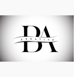 Ba letter logo with serif letter and creative cut vector