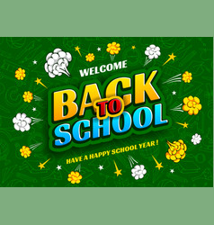 back to school background design in pop art style vector image