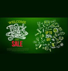 Back to school sale lettering on green vector
