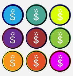 betting on football Money Collector bookmaker icon vector image