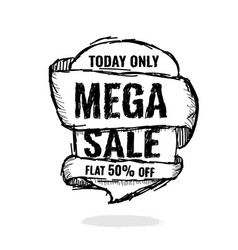 Big super sale flat 50 off vector