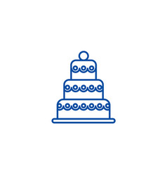 big wedding cake line icon concept big wedding vector image