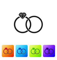 Black wedding rings icon isolated on white vector
