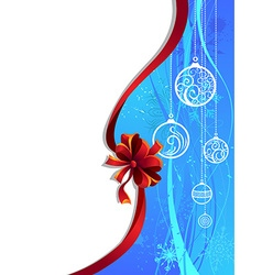 Blue Christmas wallpaper with red ribbon vector