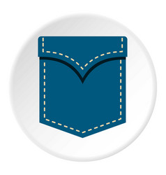 Blue pocket symbol icon circle vector