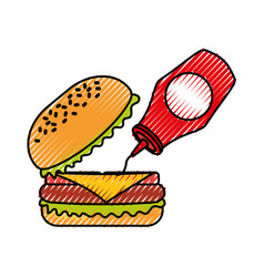 burger with ketchup fast food tasty delicious vector image