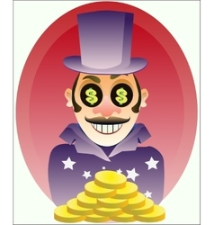 businessman with gold coins vector image