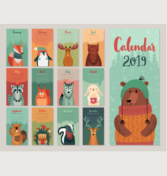 calendar 2019 cute monthly with forest vector image