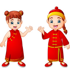 Cartoon cute boy and girl in chinese costume vector