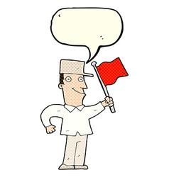 Cartoon man waving flag with speech bubble vector