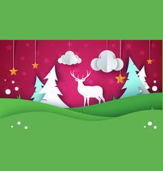cartoon paper summer landscape deer star cloud vector image