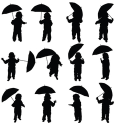 child with umbrella silhouette in black vector image