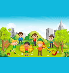 children playing in the middle of the park against vector image