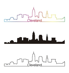 Cleveland skyline linear style with rainbow vector