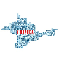Conceptual word map of Crimea ukrainian territory vector