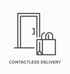 Contactless delivery line icon outline vector