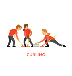 curling sports game teamwork man and woman vector image