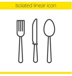 Cutlery set linear icon vector