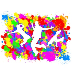 Dancers on Paint Splats vector