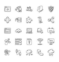 database and storage icons set vector image