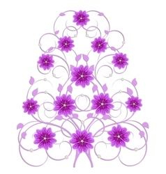Decorative tree with orchid flowers vector