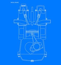 Diesel engine blueprint vector