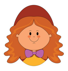 doll with red hair on white background vector image
