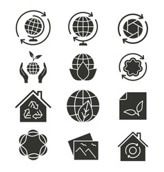 ecology icon set black vector image