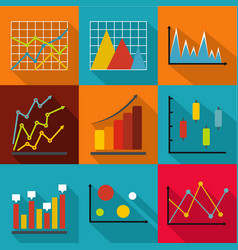 economic research icons set flat style vector image